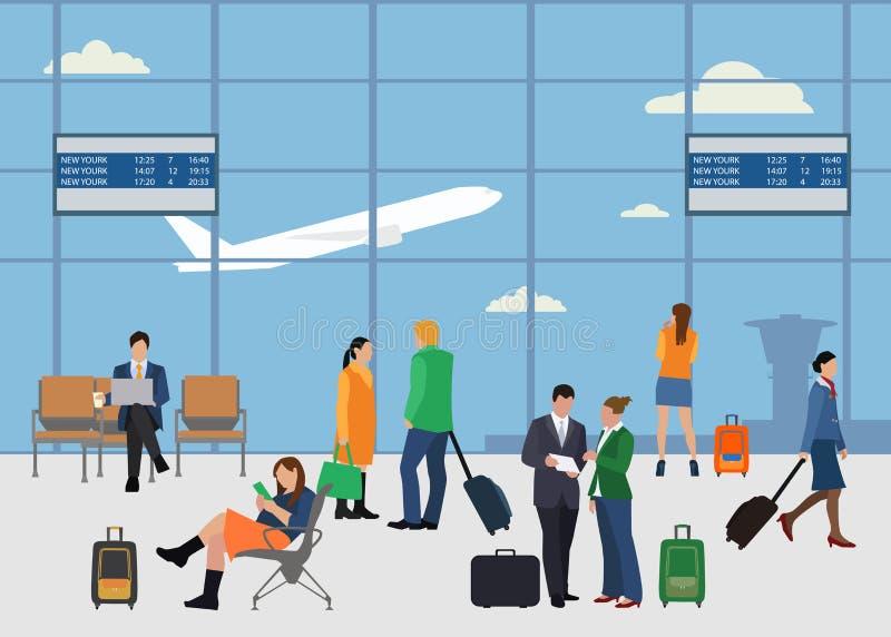 Οι άνθρωποι στο επίπεδο ύφος αερολιμένων σχεδιάζουν Άνδρας και γυναίκα διανυσματική απεικόνιση