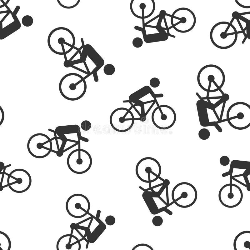 Οι άνθρωποι στο ποδήλατο υπογράφουν το άνευ ραφής υπόβαθρο σχεδίων εικονιδίων Διανυσματική απεικόνιση ποδηλάτων απομονωμένο στο λ διανυσματική απεικόνιση