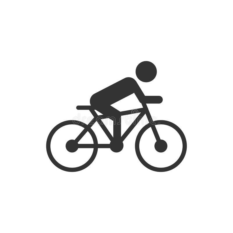 Οι άνθρωποι στο ποδήλατο υπογράφουν το εικονίδιο στο επίπεδο ύφος Δια διανυσματική απεικόνιση