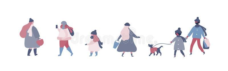Οι άνθρωποι το θερμό χειμώνα ντύνουν το περπάτημα στην οδό με το σκυλί, που πηγαίνει να εργαστούν, μιλώντας στο τηλέφωνο διανυσματική απεικόνιση