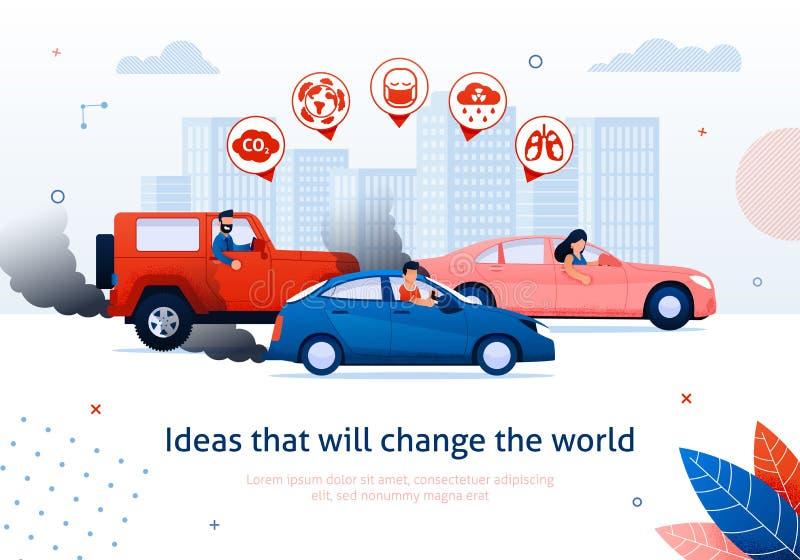 Οι άνθρωποι το τοξικό αέριο εξάτμισης αυτοκινήτων μηχανών βενζίνης διανυσματική απεικόνιση