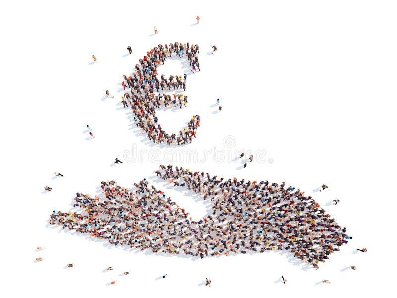 Οι άνθρωποι υπό μορφή χεριού με τα χρήματα υπογράφουν ελεύθερη απεικόνιση δικαιώματος