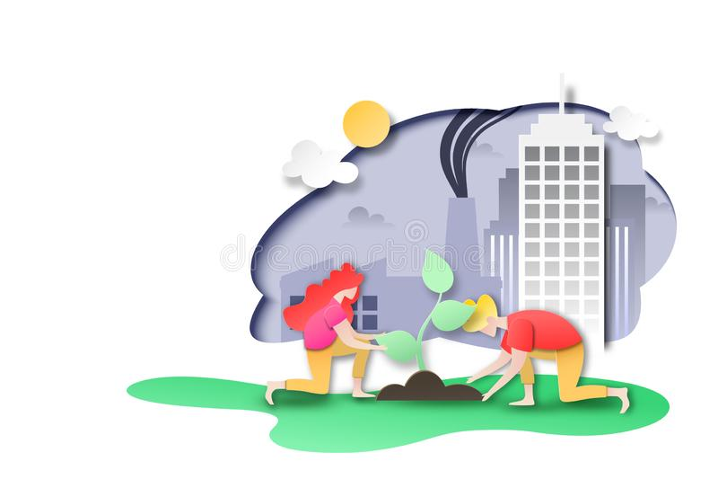 Οι άνθρωποι φυτεύουν το δέντρο στην πόλη με το εργοστάσιο και τη ρύπανση ελεύθερη απεικόνιση δικαιώματος
