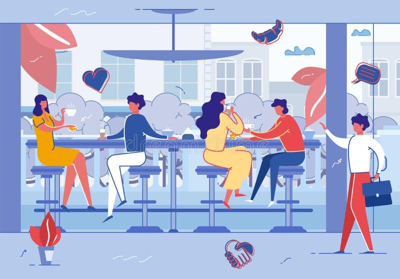 Οι άνθρωποι χαλαρώνουν στον καφέ ή τη καφετερία Σύγχρονη θέση απεικόνιση αποθεμάτων