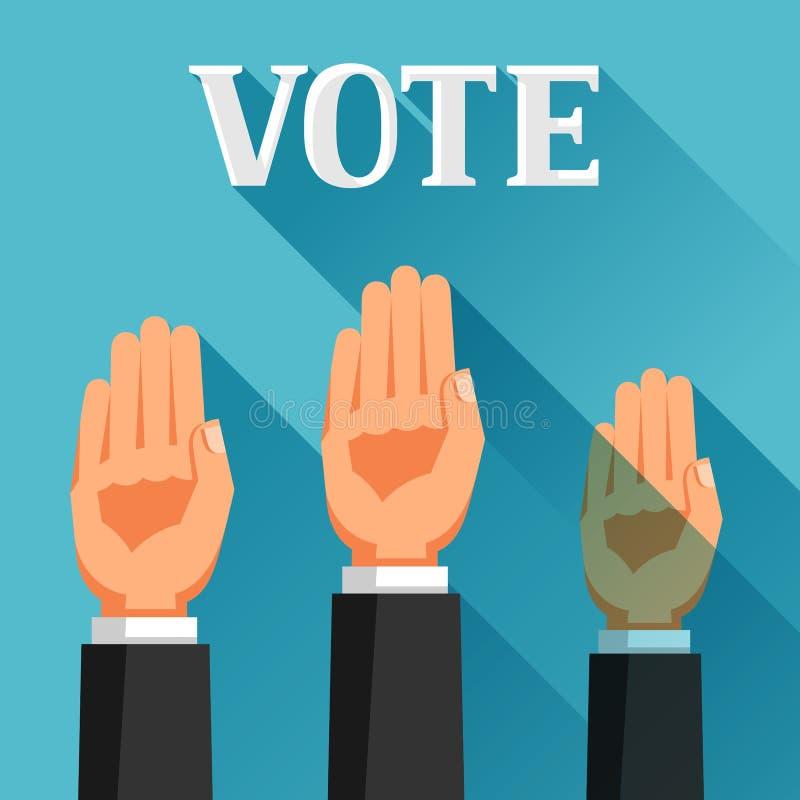 Οι άνθρωποι ψηφίζουν με τα χέρια τους που αυξάνονται Πολιτική απεικόνιση εκλογών για τα εμβλήματα, τους ιστοχώρους, τα εμβλήματα  διανυσματική απεικόνιση