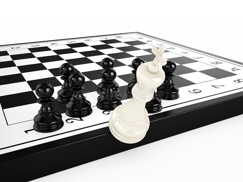 Ο λευκός βασιλιάς σκακιού πέφτει από μια σκακιέρα που περιβάλλεται από τα μαύρα ενέχυρα σκακιού απεικόνιση αποθεμάτων