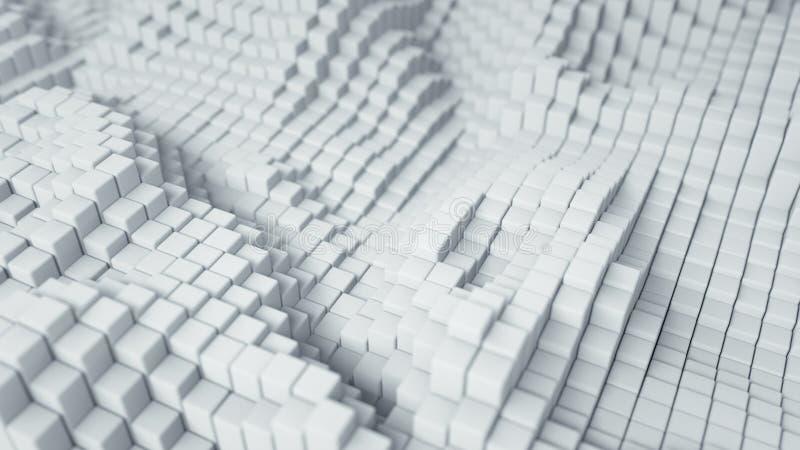 Οι άσπροι κυβικοί φραγμοί αφαιρούν την τρισδιάστατη απόδοση διανυσματική απεικόνιση