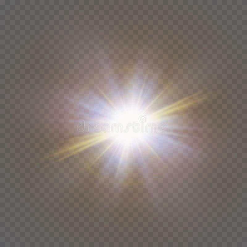 Οι άσπροι σπινθήρες ακτινοβολούν ειδική ελαφριά επίδραση Διανυσματικά σπινθηρίσματα στο διαφανές υπόβαθρο Αφηρημένο σχέδιο Χριστο ελεύθερη απεικόνιση δικαιώματος