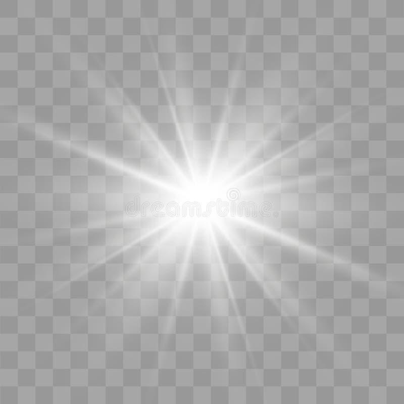 Οι άσπροι σπινθήρες ακτινοβολούν ειδική ελαφριά επίδραση Διανυσματικά σπινθηρίσματα στο διαφανές υπόβαθρο Ελαφρύ ειδικό εφέ φλογώ διανυσματική απεικόνιση