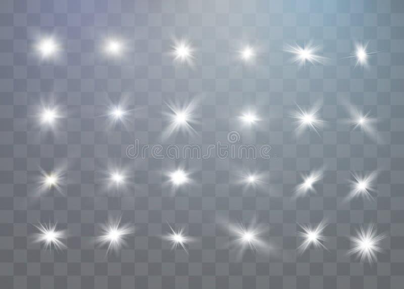 Οι άσπροι σπινθήρες ακτινοβολούν ειδική ελαφριά επίδραση Διανυσματικά σπινθηρίσματα στο διαφανές υπόβαθρο Αφηρημένο σχέδιο Χριστο απεικόνιση αποθεμάτων