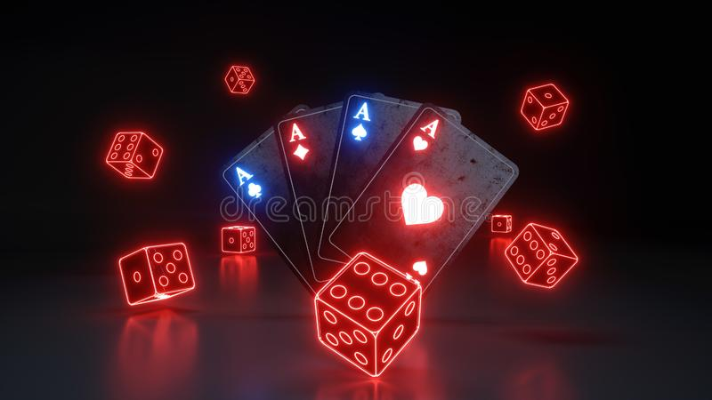 Οι άσσοι που παίζουν τις κάρτες και χωρίζουν σε τετράγωνα με τα καμμένος κόκκινα φώτα νέου που απομονώνονται στο μαύρο υπόβαθρο - ελεύθερη απεικόνιση δικαιώματος