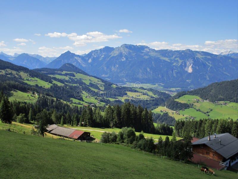 Οι Άλπεις - άποψη των τομέων και των αιχμών βουνών στην Αυστρία στοκ εικόνα με δικαίωμα ελεύθερης χρήσης