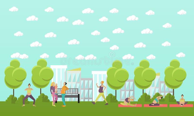 Οι έγκυοι γυναίκες κάνουν την άσκηση και τη γιόγκα στο πάρκο Διανυσματική απεικόνιση στο επίπεδο ύφος Εμβλήματα ικανότητας γυναικ ελεύθερη απεικόνιση δικαιώματος