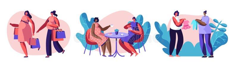 Οι έγκυοι γυναίκες ξοδεύουν τις χρονικές μαζί πηγαίνοντας αγορές, καφές επίσκεψης, που αγοράζει τον ιματισμό για το μωρό, φίλοι σ διανυσματική απεικόνιση