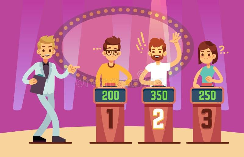 Οι έξυπνοι νέοι που παίζουν το παιχνίδι διαγωνισμοου γνώσεων παρουσιάζουν η αλλοδαπή γάτα κινούμενων σχεδίων δραπετεύει το διάνυσ ελεύθερη απεικόνιση δικαιώματος