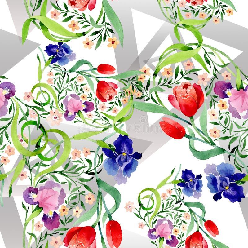 Οι ίριδες και οι τουλίπες διακοσμούν το floral βοτανικό λουλούδι Σύνολο απεικόνισης υποβάθρου Watercolor Άνευ ραφής πρότυπο ανασκ απεικόνιση αποθεμάτων