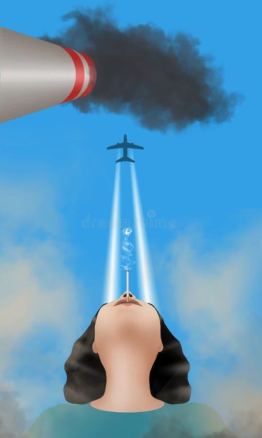 Οι ίχνος-ανθρώπινοι παραγμένοι ατμοί ατμού που είναι στην ατμόσφαιρα είναι διευκρινισμένοι με μια γυναίκα που καπνίζουν και το ίχ ελεύθερη απεικόνιση δικαιώματος