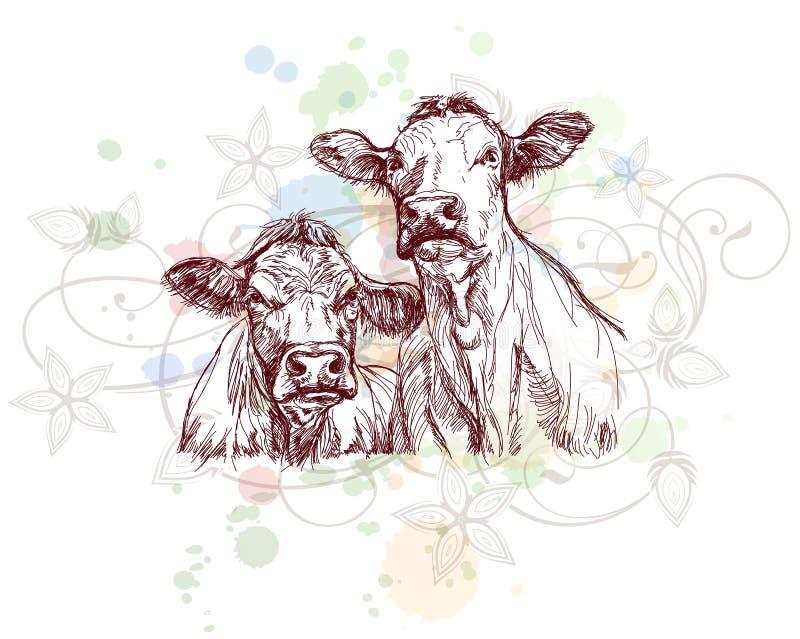 οι αγελάδες σύρουν το floral απεικόνιση αποθεμάτων