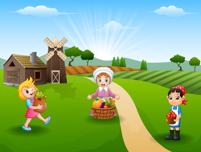Οι αγρότες γυναικών σύλλεξαν στο αγρόκτημα διανυσματική απεικόνιση