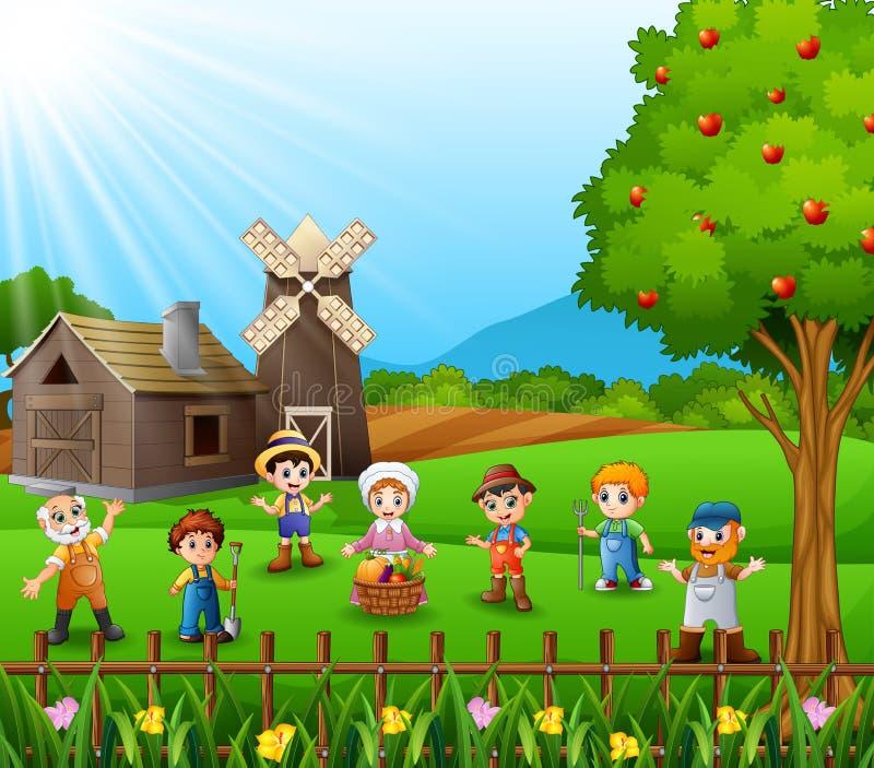 Οι αγρότες σύλλεξαν μαζί και μιλώντας για το αγρόκτημα απεικόνιση αποθεμάτων