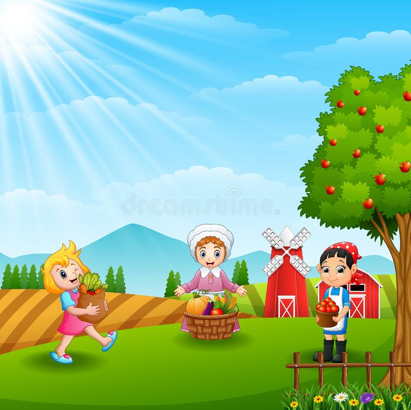 Οι αγρότες σύλλεξαν στο αγρόκτημα διανυσματική απεικόνιση