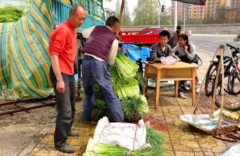 Pengzhou, Κίνα: Αγρότες που ζυγίζουν τα πράσινα σκόρδου στοκ φωτογραφίες με δικαίωμα ελεύθερης χρήσης