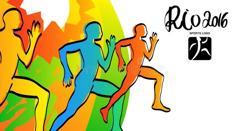 Οι αθλητές μελανώνουν τα σκίτσα Απεικόνιση του Ρίο 2016 Αθλητικές κάρτες δρομέων, αφίσα, απεικόνιση διανυσματική απεικόνιση