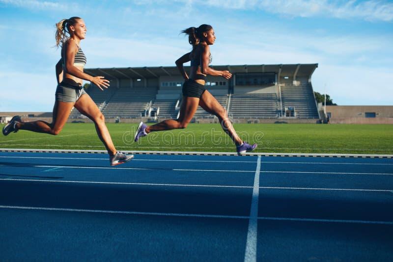 Οι αθλητές φθάνουν στη γραμμή τερματισμού στη πίστα αγώνων στοκ φωτογραφία με δικαίωμα ελεύθερης χρήσης
