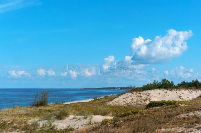 Οι αμμόλοφοι άμμου στην ακροθαλασσιά, η παραλία το καλοκαίρι στοκ εικόνες