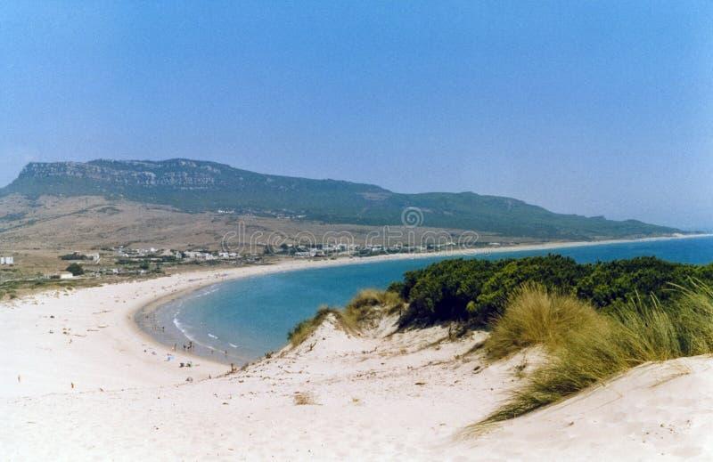 οι αμμόλοφοι παραλιών στρώνουν με άμμο τα ισπανικά στοκ εικόνα