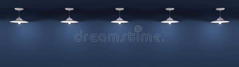 Οι λαμπτήρες πέρα από το μπλε υπόβαθρο τοίχων τρισδιάστατο δίνουν διανυσματική απεικόνιση