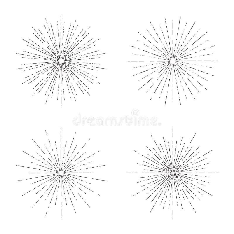 Οι αναδρομικές εκρήξεις ήλιων θέτουν, εκλεκτής ποιότητας ακτινοβόλος συλλογή μορφών ακτίνων ήλιων για το λογότυπο, ετικέτες ή εμβ απεικόνιση αποθεμάτων