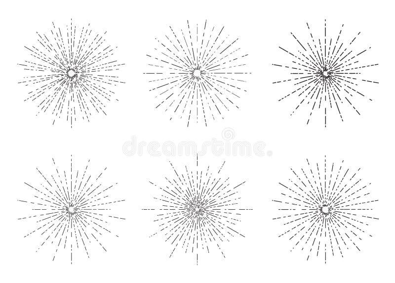 Οι αναδρομικές εκρήξεις ήλιων θέτουν, εκλεκτής ποιότητας ακτινοβόλος συλλογή μορφών ακτίνων ήλιων για το λογότυπο, ετικέτες ή εμβ διανυσματική απεικόνιση
