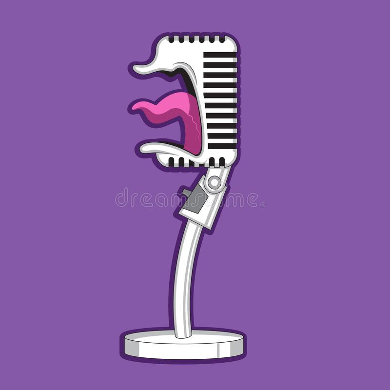 Οι αναδρομικές κραυγές μικροφώνων χαρακτήρα κινουμένων σχεδίων, τραγουδούν E διανυσματική απεικόνιση
