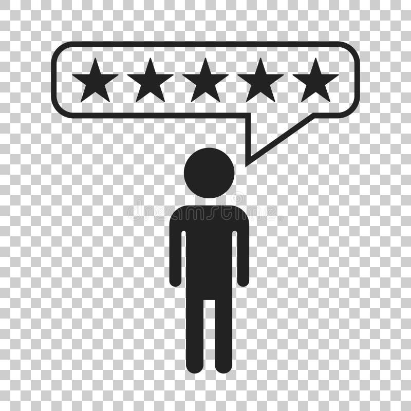 Οι αναθεωρήσεις πελατών, εκτίμηση, χρήστης ανατροφοδοτούν το διανυσματικό εικονίδιο έννοιας fla διανυσματική απεικόνιση