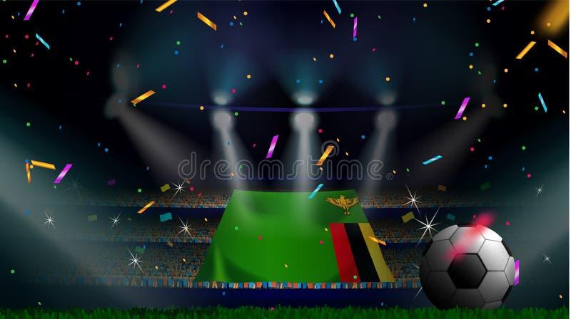 Οι ανεμιστήρες κρατούν τη σημαία της Ζάμπια μεταξύ της σκιαγραφίας του ακροατηρίου πλήθους στο στάδιο ποδοσφαίρου με το κομφετί γ ελεύθερη απεικόνιση δικαιώματος