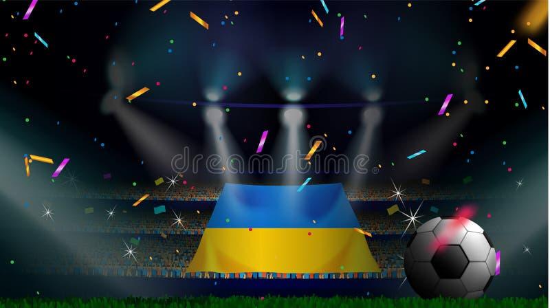 Οι ανεμιστήρες κρατούν τη σημαία της Ουκρανίας μεταξύ της σκιαγραφίας του ακροατηρίου πλήθους στο στάδιο ποδοσφαίρου με το κομφετ απεικόνιση αποθεμάτων