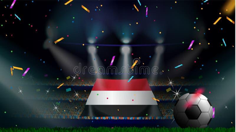 Οι ανεμιστήρες κρατούν τη σημαία της Υεμένης μεταξύ της σκιαγραφίας του ακροατηρίου πλήθους στο στάδιο ποδοσφαίρου με το κομφετί  ελεύθερη απεικόνιση δικαιώματος