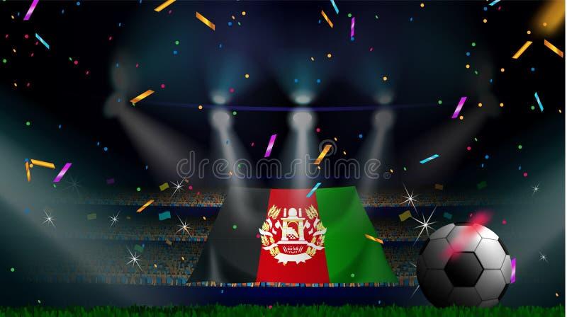 Οι ανεμιστήρες κρατούν τη σημαία του Αφγανιστάν μεταξύ της σκιαγραφίας του ακροατηρίου πλήθους στο στάδιο ποδοσφαίρου με το κομφε απεικόνιση αποθεμάτων