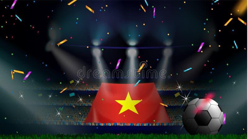 Οι ανεμιστήρες κρατούν τη σημαία του Βιετνάμ μεταξύ της σκιαγραφίας του ακροατηρίου πλήθους στο στάδιο ποδοσφαίρου με το κομφετί  ελεύθερη απεικόνιση δικαιώματος