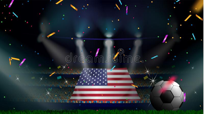 Οι ανεμιστήρες κρατούν τη σημαία των ΗΠΑ μεταξύ της σκιαγραφίας του ακροατηρίου πλήθους στο στάδιο ποδοσφαίρου με το κομφετί για  ελεύθερη απεικόνιση δικαιώματος