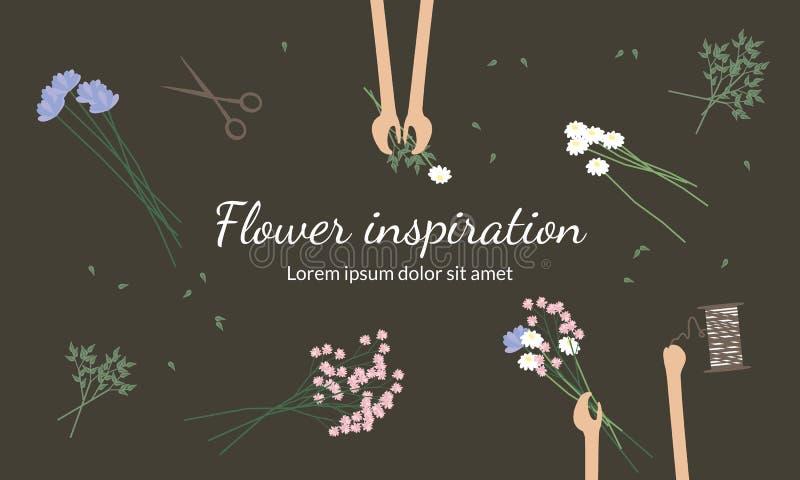 Οι ανθοκόμοι δημιουργούν τις ανθοδέσμες λουλουδιών ελεύθερη απεικόνιση δικαιώματος