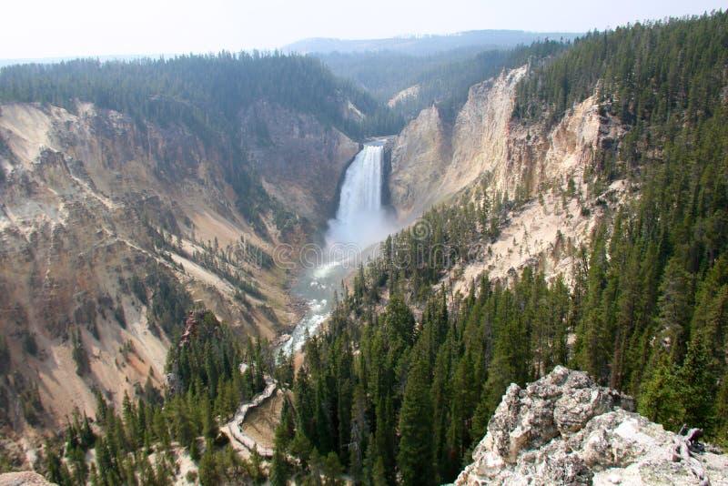 Οι ανώτερες πτώσεις του ποταμού Yellowstone στο μεγάλο φαράγγι του Yellowstone στοκ φωτογραφίες με δικαίωμα ελεύθερης χρήσης
