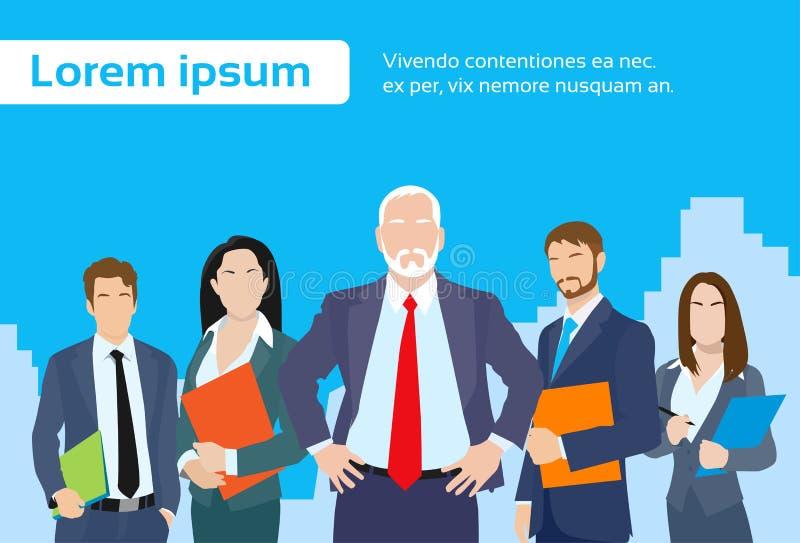 Οι ανώτεροι επιχειρηματίες διευθύνουν με την ομάδα επιχείρησης απεικόνιση αποθεμάτων