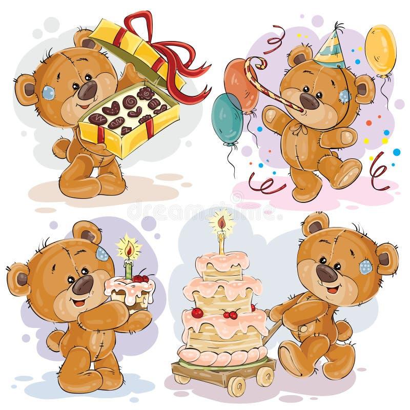 Οι απεικονίσεις τέχνης συνδετήρων της teddy αρκούδας σας εύχονται το α χρόνια πολλά διανυσματική απεικόνιση