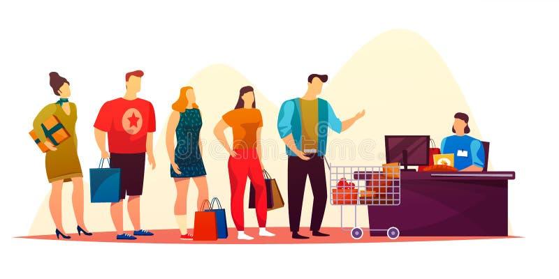 Οι απλοί άνθρωποι που περιμένουν στο κατάστημα περιμένουν στη σειρά ή τη γραμμή αγοράς ελεύθερη απεικόνιση δικαιώματος