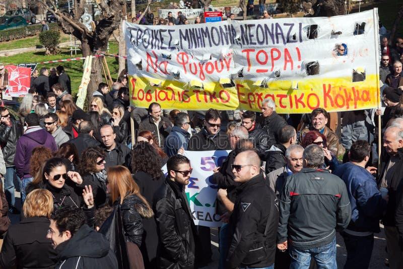 Οι απομακρυνθε'ντες δημόσιοι υπάλληλοι διαμαρτύρονται στοκ φωτογραφίες με δικαίωμα ελεύθερης χρήσης
