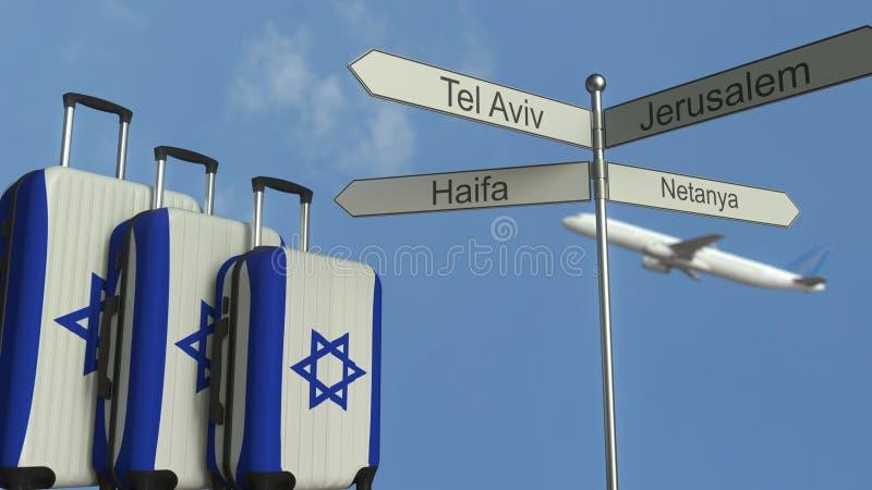 Οι αποσκευές ταξιδιού που χαρακτηρίζουν τη σημαία του Ισραήλ, του αεροπλάνου και της πόλης υπογράφουν τη μετα ισραηλινή εννοιολογ διανυσματική απεικόνιση
