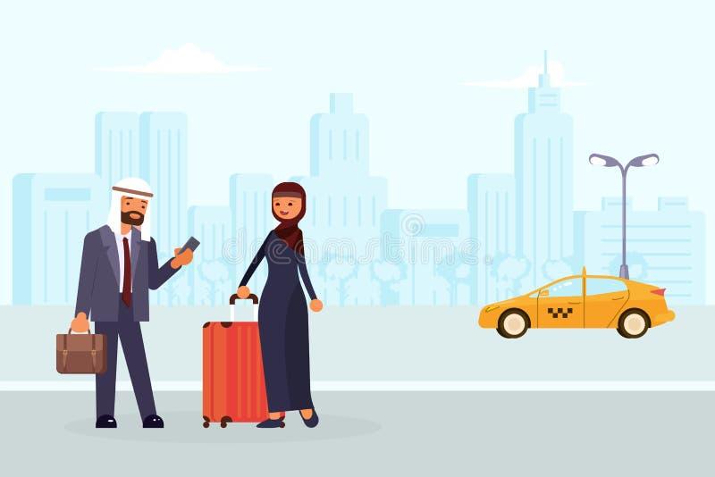 Οι αραβικοί οικογενειακοί χαρακτήρες διατάζουν ένα κίτρινο ταξί απεικόνιση αποθεμάτων