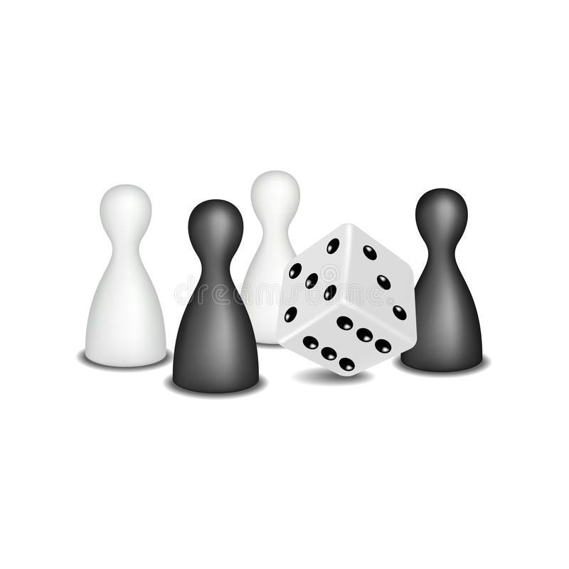 Οι αριθμοί επιτραπέζιων παιχνιδιών και χωρίζουν σε τετράγωνα στο γραπτό σχέδιο διανυσματική απεικόνιση